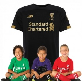 Kid's Liverpool Home Short Sleeve Goalkeeper Shirt 19/20(Black)